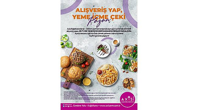 Axis Kağıthane AVM'den alışveriş yapanlar yeme içme çeki kazanıyor