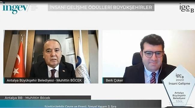 Antalya Büyükşehir Belediyesine İNGEV'den iki ödül