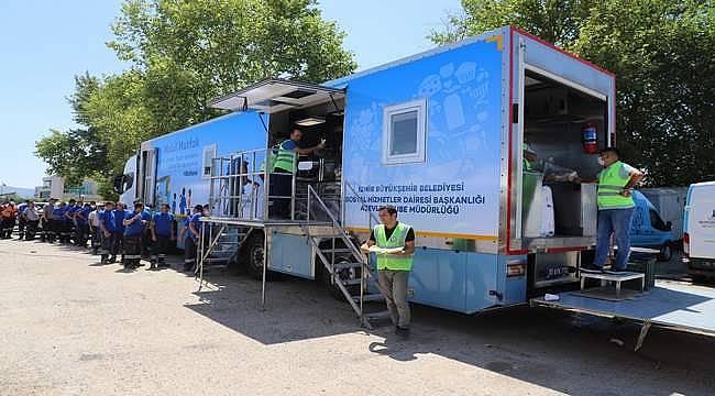 İzmir Büyükşehir Belediyesi'nin mobil mutfağı Muğla'dan döndü
