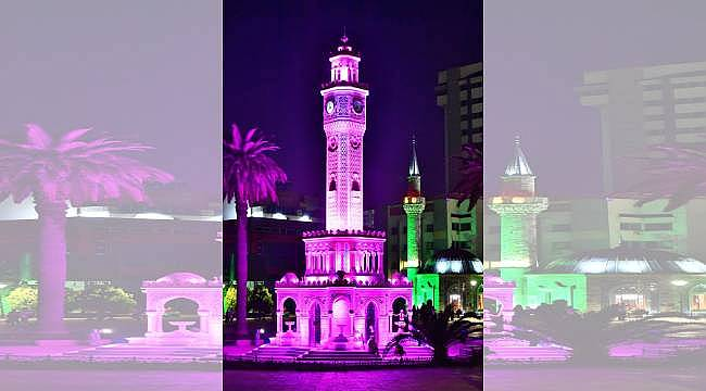 """İzmir Saat Kulesi """"Alzheimer Günü"""" için mor renge büründü"""